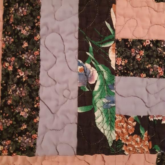 Handmade Quilt Pink, Black, Lavender Hues